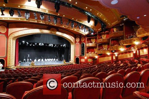 Theatre inside the liner The Cunard liner Queen...