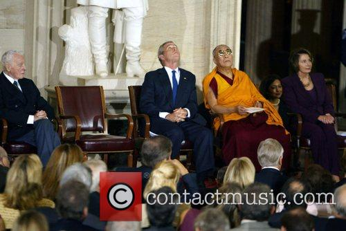 President George Bush and Dalai Lama and Speaker...