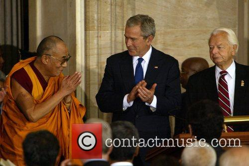 President George Bush and Dalai Lama Congressional Medal...
