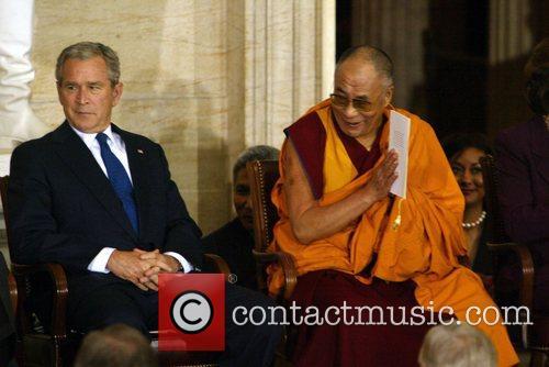 President George Bush and Dalai Lama The Congressional...