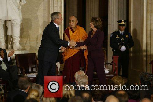 President Georeg Bush, Dalai Lama, Speaker of the...