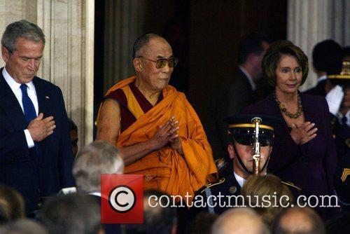 President George Bush, the Dalai Lama and Speaker...