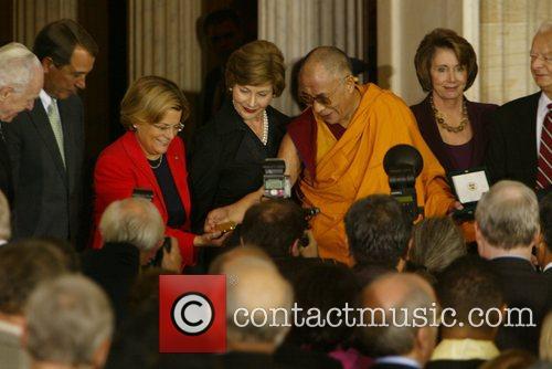First Lady Laura Bush, Dalai Lama, Speaker of...