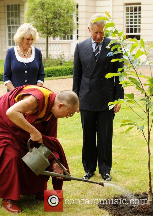 The Dalai Lama is joined by Prince Charles,...