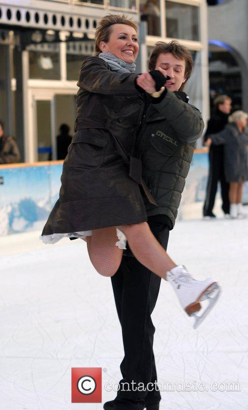 Skating on the ice before attending the 'Dancing...