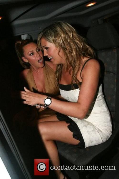Danielle Lloyd, Michelle Heaton leaving Dover Street Restaurant...