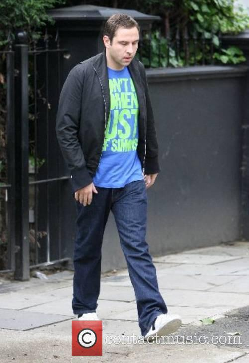 David Walliams leaving his house in a taxi....