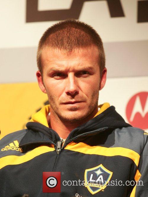 David Beckham at an LA Galaxy press conference...