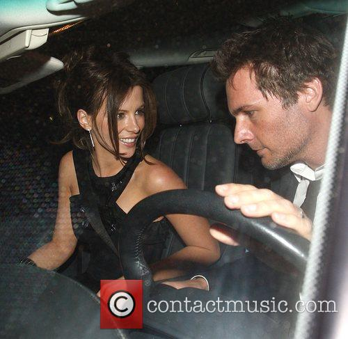 Kate Beckinsale and Len Wiseman leaving a party...