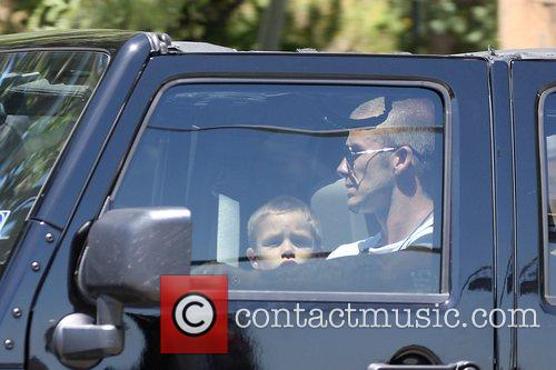 David Beckham collects his son at Curtis School...