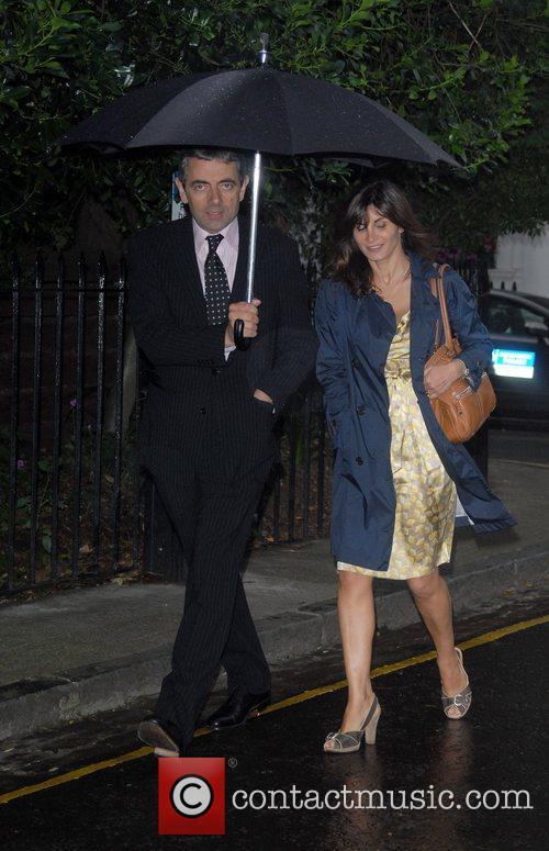 Rowan Atkinson and wife Sunetra Sastry arrive at...
