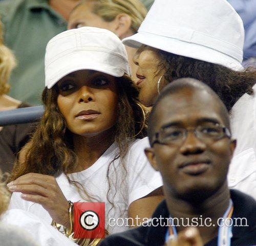 Janet Jackson Enjoying the tennis, in the audience,...