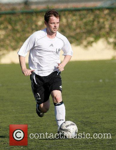 Declan Donelly playing football for Robbie William's Los...