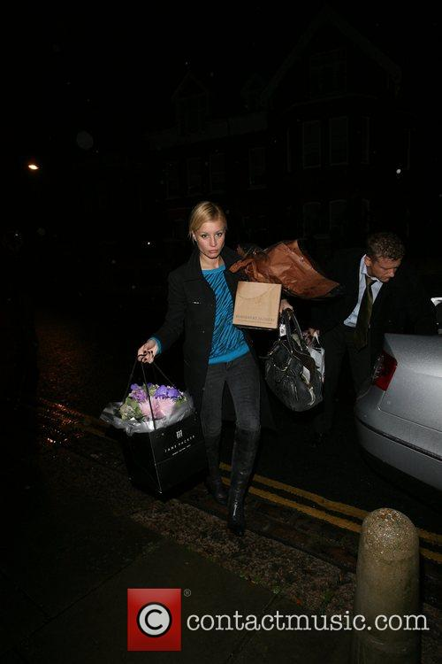 Denise Van Outen arrives home, after her performance...