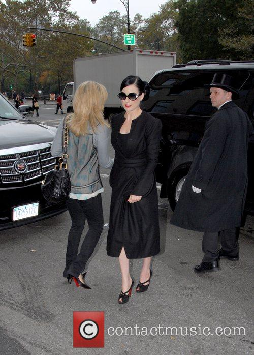 Dita Von Teese arriving at her hotel in...
