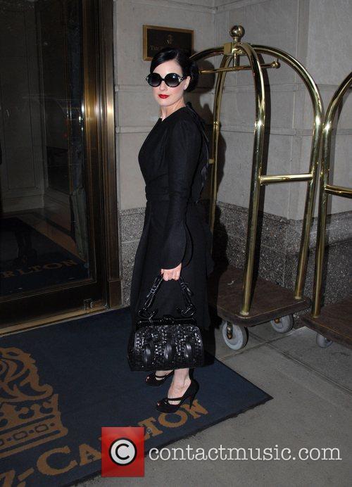 Dita Von Teese arriving at her hotel in...
