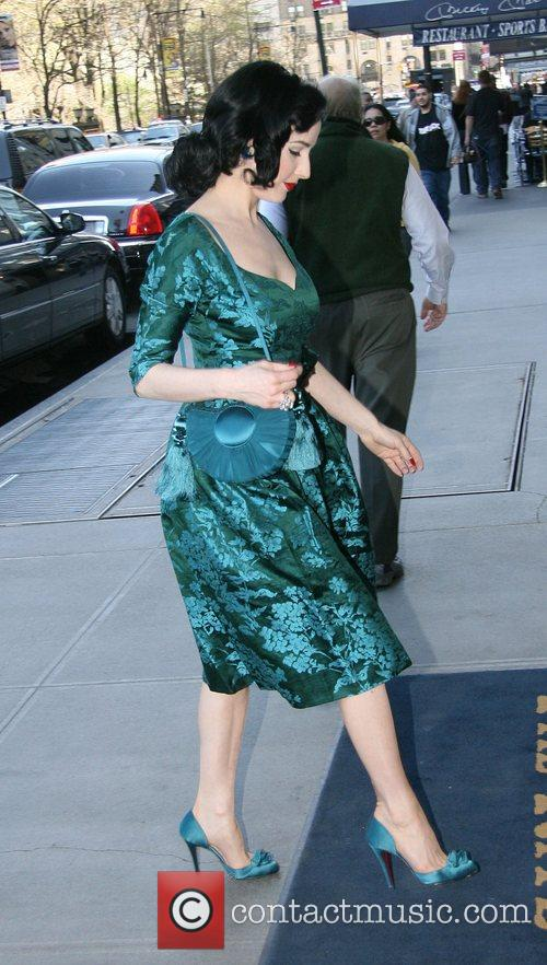 Dita Von Teese Arriving at a hotel in...