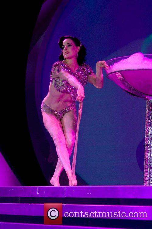 Dita Von Teese performing at Macy's Passport at...