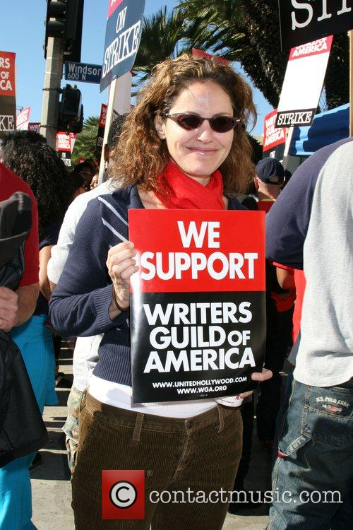 Writers Guild of America on strike outside Paramount...