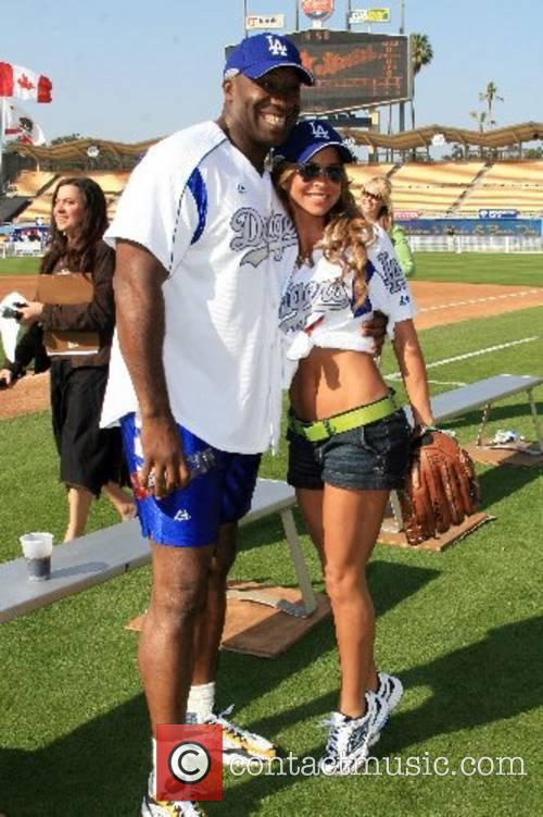 Michael Clarke Duncan and Aylin Mujica Dodgers 49th...