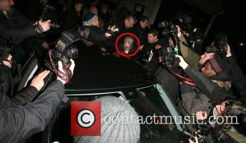 Lily Allen leaving Dolce nightclub at 2am, surrounded...