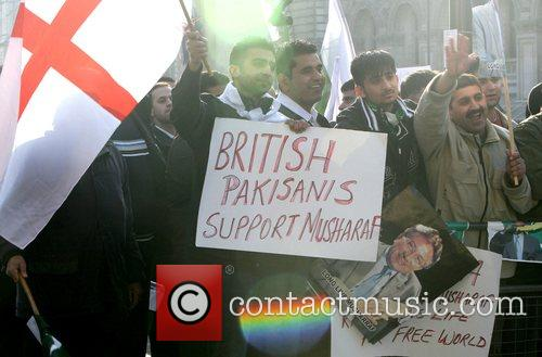 Over 1,000 people demonstrated outside Downing Street against...