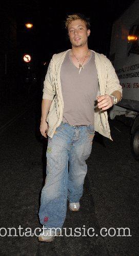 Duncan James leaving Cambridge Theatre where he is...