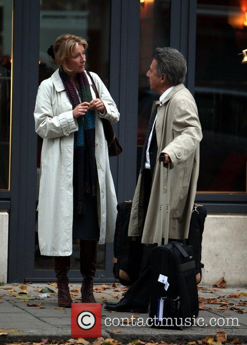 Emma Thompson and Dustin Hoffman filming the movie...