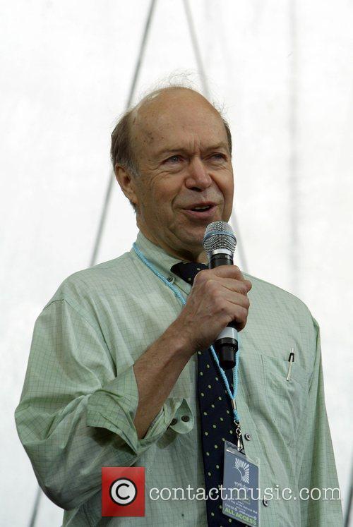 James Hansen NASA climatologist making a speech at...