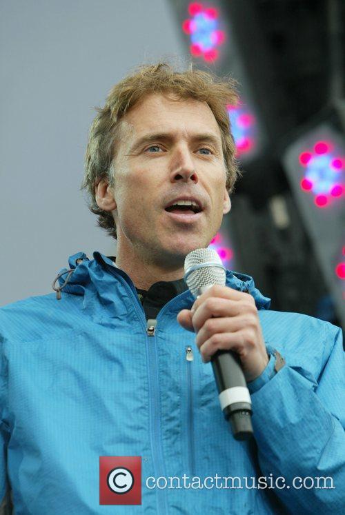 Olympian Joe Holland making a speech at Earth...