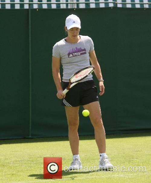Justine Henin (BEL) Seed no. 1 practices before...