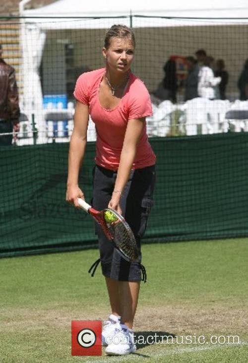 Maria Kirilenko (RUS) practices before the 2007 International...