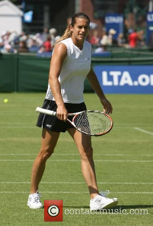 Amelie Mauresmo (FRA) The number two seed warms...