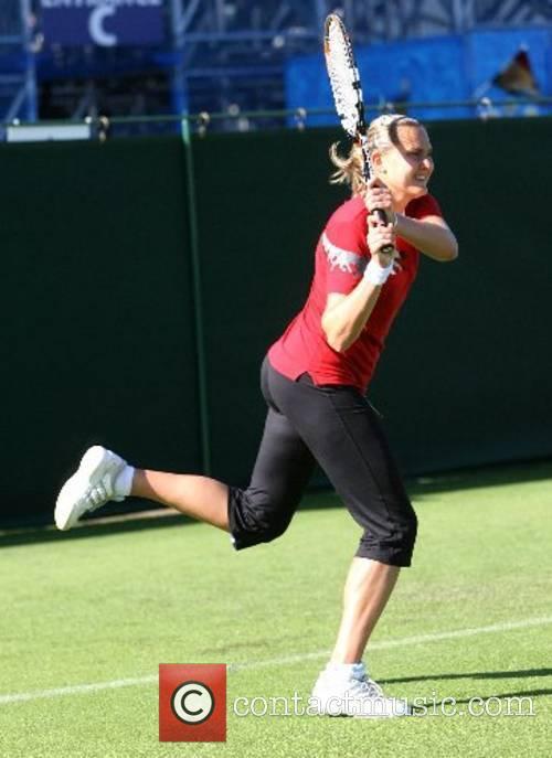 Nadia Petrova (RUS) practices before the 2007 International...