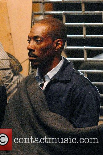 Eddie Murphy on the film set for 'Starship...