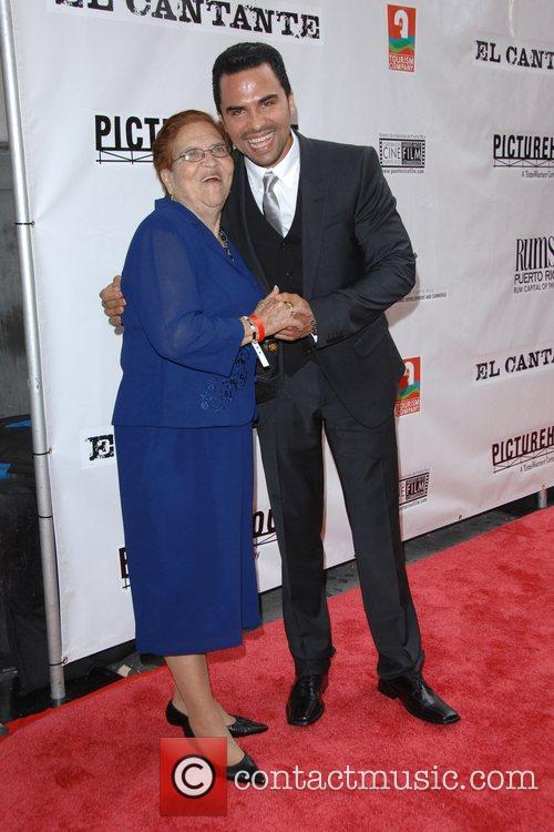 Manny Perez with his mother New York Premiere...
