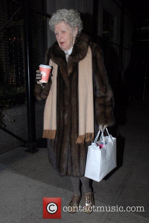 Elaine Stritch walking along Upper East Side