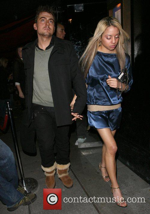 Paul Danan and a mystery woman leaving the...