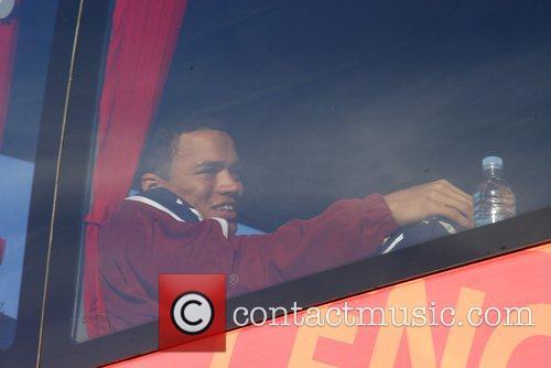 Fabio Capello's England team board the bus to...