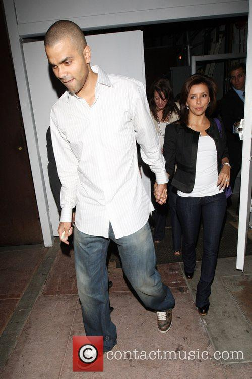Eva Longoria and her husband Tony Parker leaving...