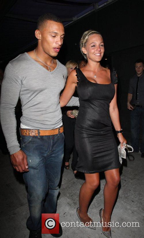Danielle Lloyd and her boyfriend leaving Faces nightclub