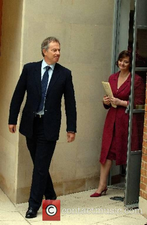 Tony and Cherie Blair attend a memorial service...