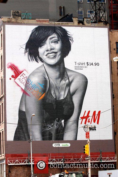 H&M Fashion Against AIDS billboard in Soho advertising...