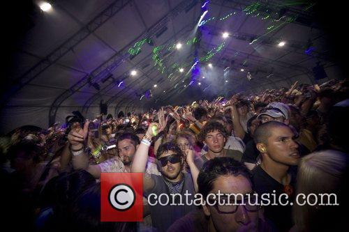 Fatboy Slim performing at the Coachella Music festival...