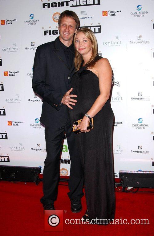 Tony Hawk and wife Lhotse Merriam Fight Night...
