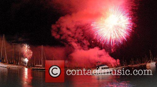 Fourth of July firework celebrations over Lake Michigan...