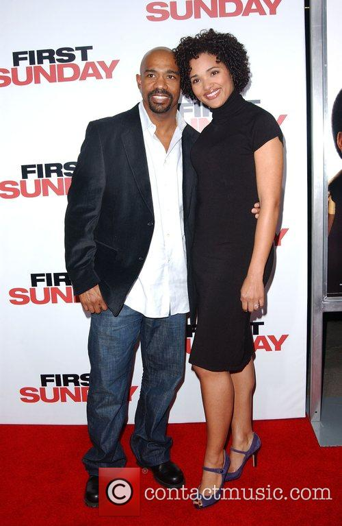 Michael Beach and wife Elisha Beach LA Premiere...