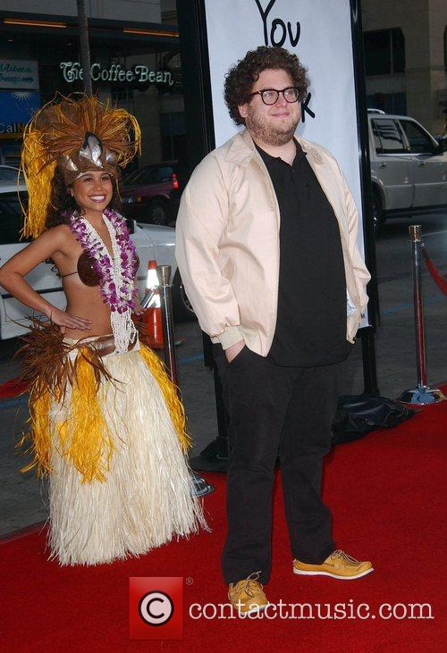 Jonah Hill and Hula girl Premiere of 'Forgetting...