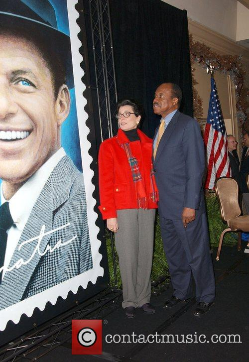 Tina Sinatra and Guest Frank Sinatra Stamp Unveiling...