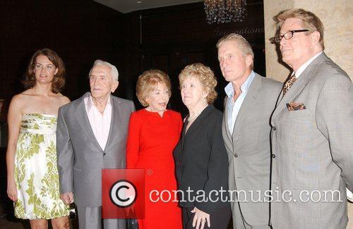 Julie Szegedi, Anne Douglas, Kirk Douglas, Michael Douglas and Peggy Albrecht